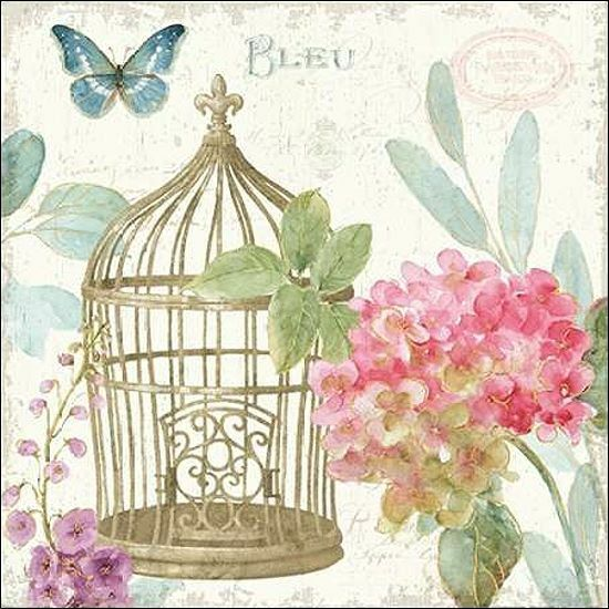 Lisa Audit  Rainbow Seeds Floral Birdcage II v2 Keilrahmen-Bild Leinwand Blaumen
