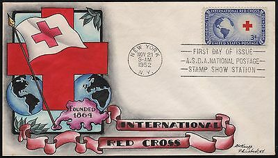 """#1016 ON """"RED CROSS"""" DOROTHY KNAPP HAND PAINTED FDC CACHET WL6310"""