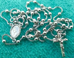 Silver-rosary-925-sterling-silver-15-6-039-039-from-Medjugorje-cable-rope-BAG