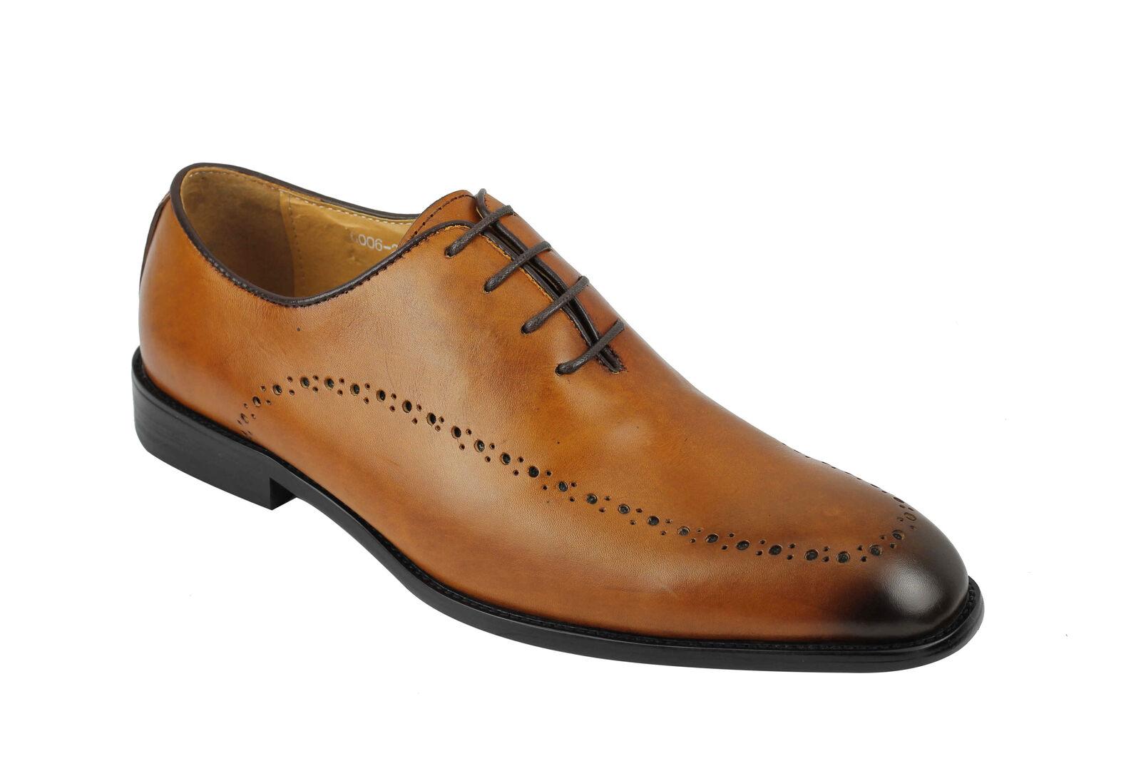 Mens Cut Vintage Real Leather Whole Cut Mens Oxford Lace up Shoes Tan Size 6 7 8 9 10 11 1c2d97
