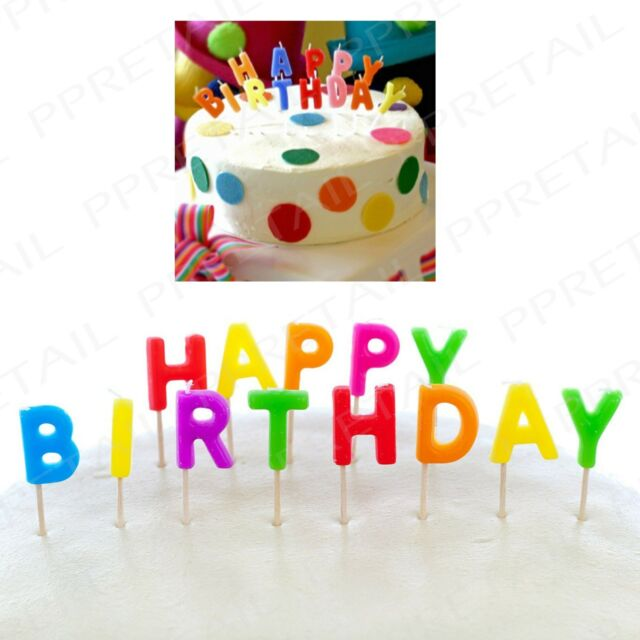 13pc happy birthday letter candles celebration colourful cake topper event fun