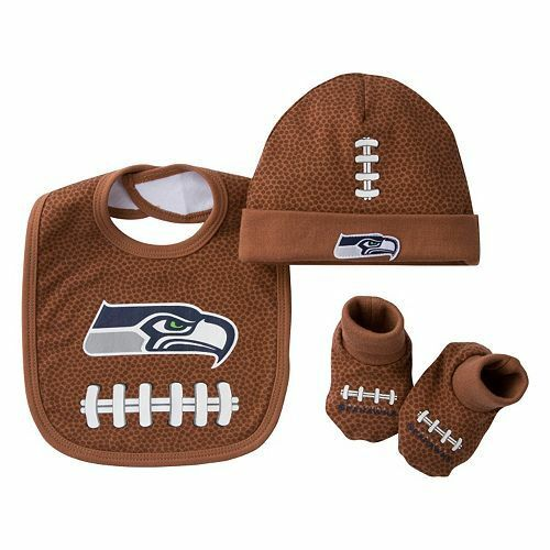 536a4c410 NFL Seattle Seahawks 3 PC Baby Set Bib Cap   BOOTIES Newborn to 6 Months  for sale online