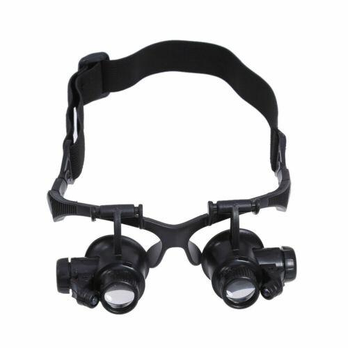 Profi Stirnlupe LED Licht Brillenlupe Kopflupe Lupenbrille+4 Linsen 10x15x20x25x