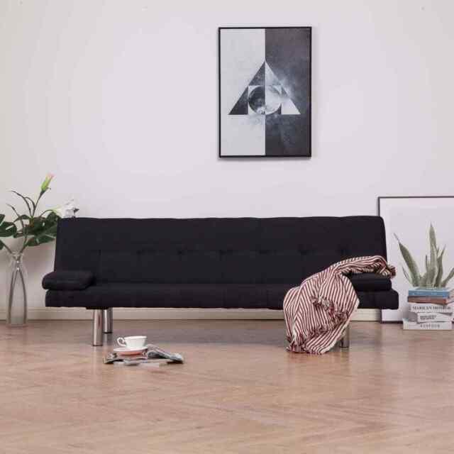 vidaXL Divano Letto con 2 Cuscini Nero in Similpelle Regolabile Arredo Sofa