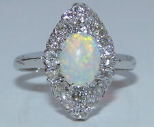 EARLY 20 CENTURY 18CT GOLD CABOCHON OPAL 1CT DIAMOND MARQUISE CLUSTER RING