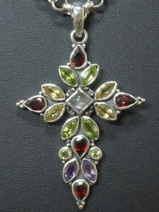 Anhaenger-pendant-925-Sterling-SILBER-silver-Halskette-Kreuz-cross-Edelstein