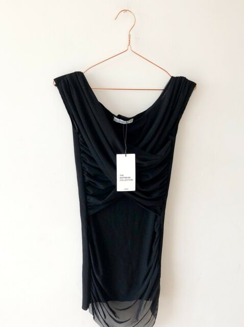 ZARA Knit Black Stretch Sheer Tulle Drape Grecian Top 10 12 Party GoingOut Goth