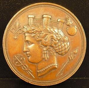 Medaille-Ville-de-Lille-1866-cuivre-MDP-poincon-abeille-33-mm-medal