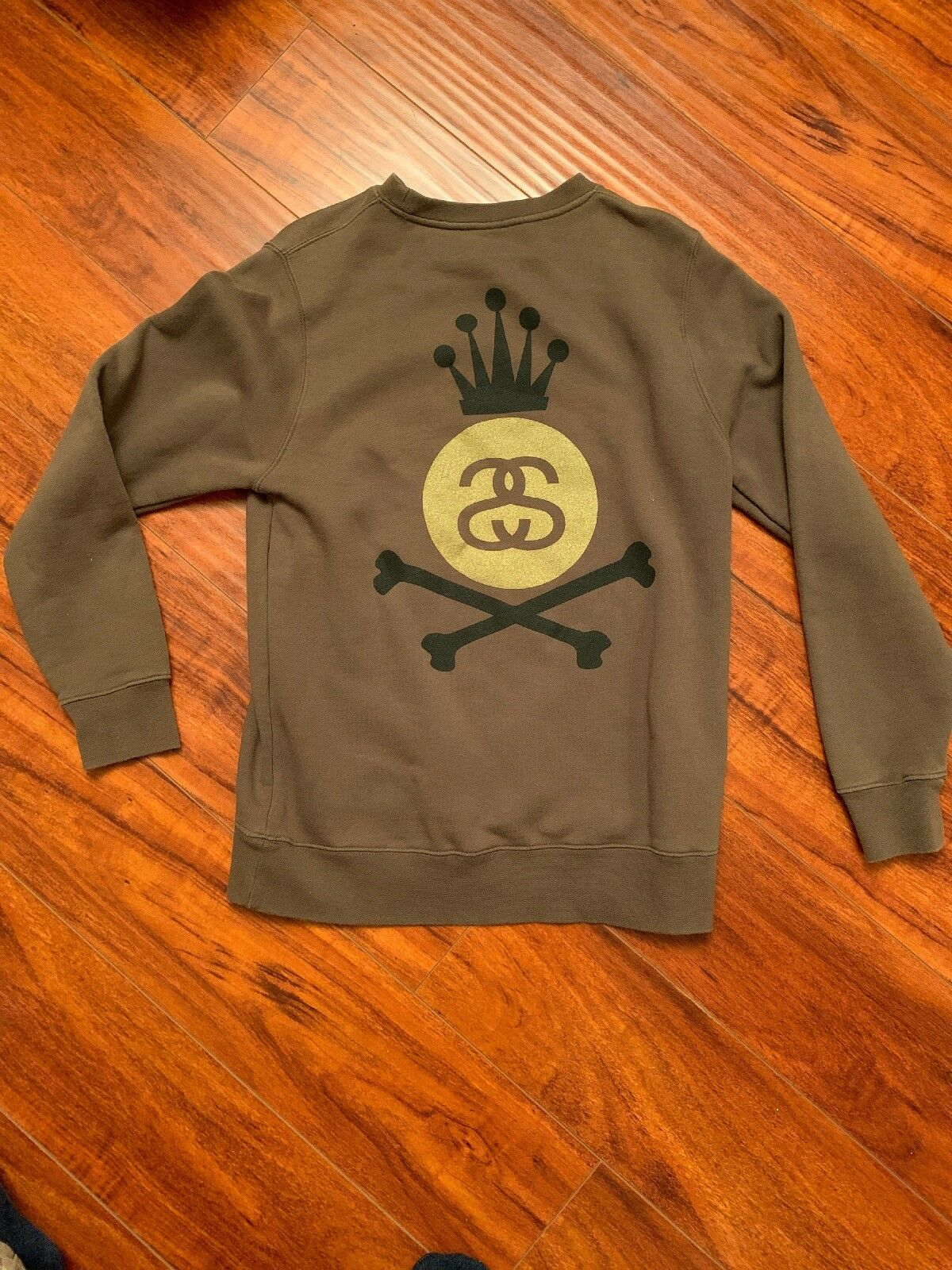 Stussy Brown Crew Sweater Small S Crossbone King SS gold Vintage OG Hip Hop Rap