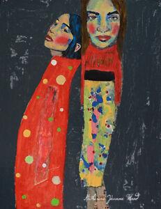 Large Original Figure Mixed Media Painting Women Best Friends Katie Jeanne Wood