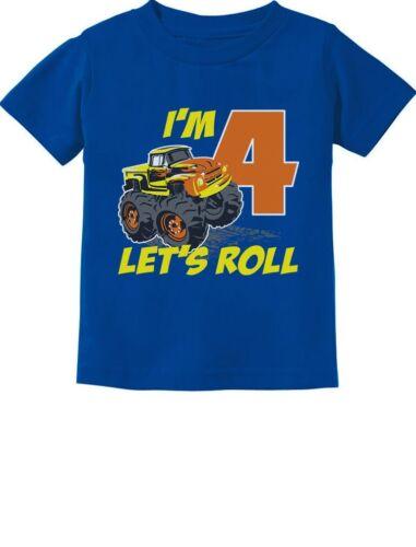 Birthday Gift for 4 Year Old Boy Truck 4th Birthday Boys Toddler Kids T-Shirt 4