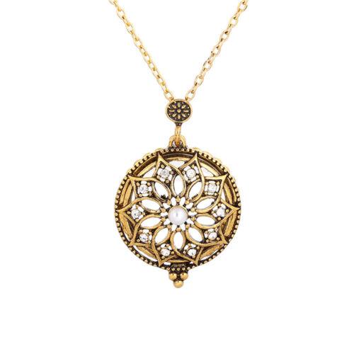 Vintage Antique Bronze Magnifier Glass Chain Pendant Magnifying Necklace Grandma