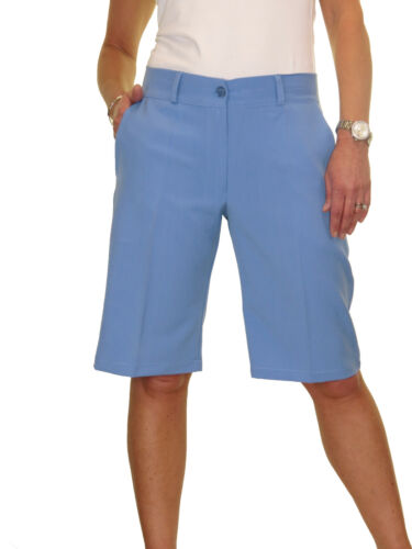 ICE Ladies Smart Casual Washable Tailored Shorts Sky Blue 8-22 1492-8