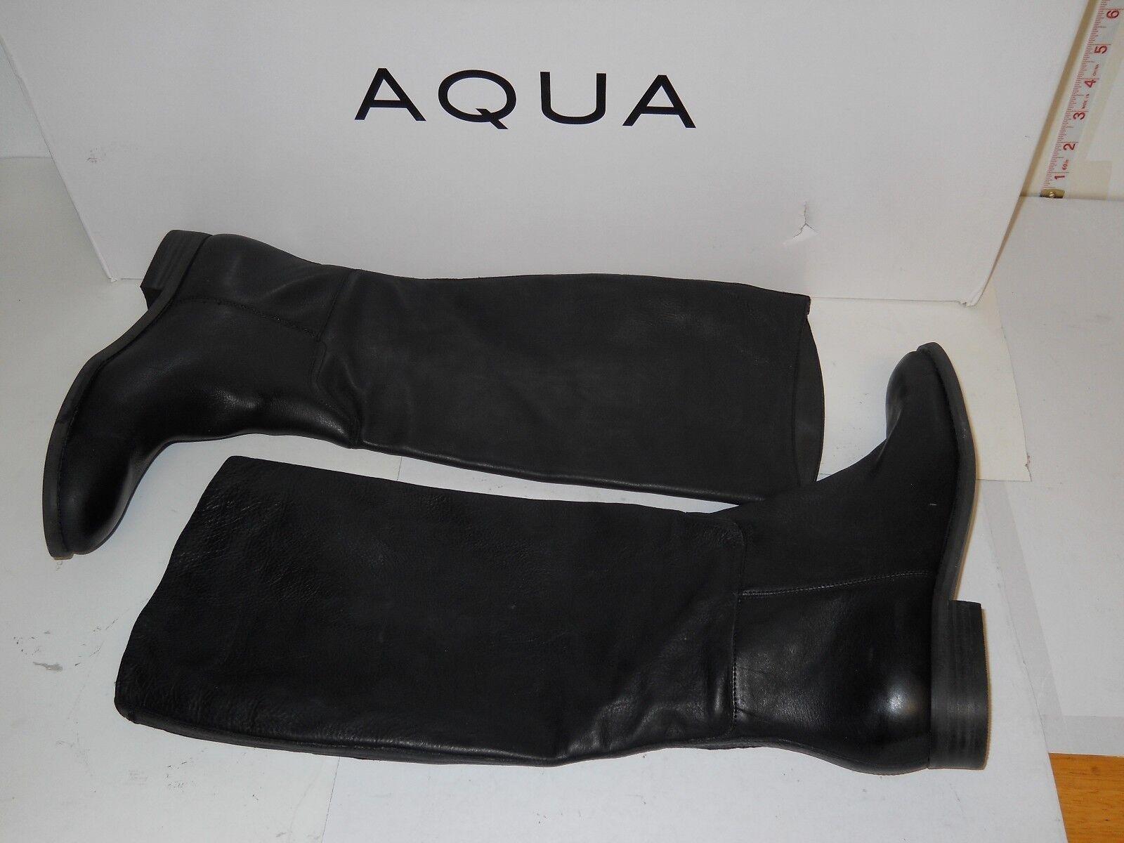Aqua New Womens Rider Black Leather Boots 6 M Shoes NWB