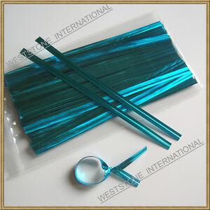 """1000pcs 4/"""" LIGHT BLUE Metallic Twist Tie for Candy Lollipop Cello Bag"""