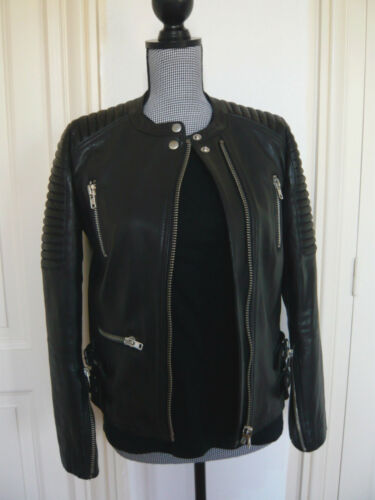 38 Leather T Jacket Perfecto Cuir Blouson Neuf Motorcycle Noir Sandro wRq0tCx