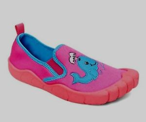 f1ff3b14d9ab Newtz Girls Water Shoes Size 11-12 Pink Blue W Whale New UPF 50+