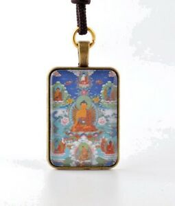 Details about RARE! BLESSED TIBETAN THANGKA NECKLACE PENDANT: FIVE DHYANI  WISDOM BUDDHAS