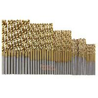 P4PM 50Pcs Titanium Coated HSS High Speed Steel Drill Bit Set Tools 1/1.5/2/2.