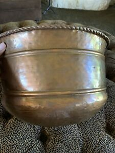 "Large Copper Jardiniere Cache Pot Planter 14"" Wide 9"" Tall Rope Trim Metal"