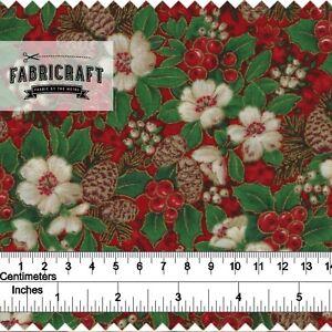 Christmas-Fabric-Xmas-Rose-Red-100-cotton-1-metre