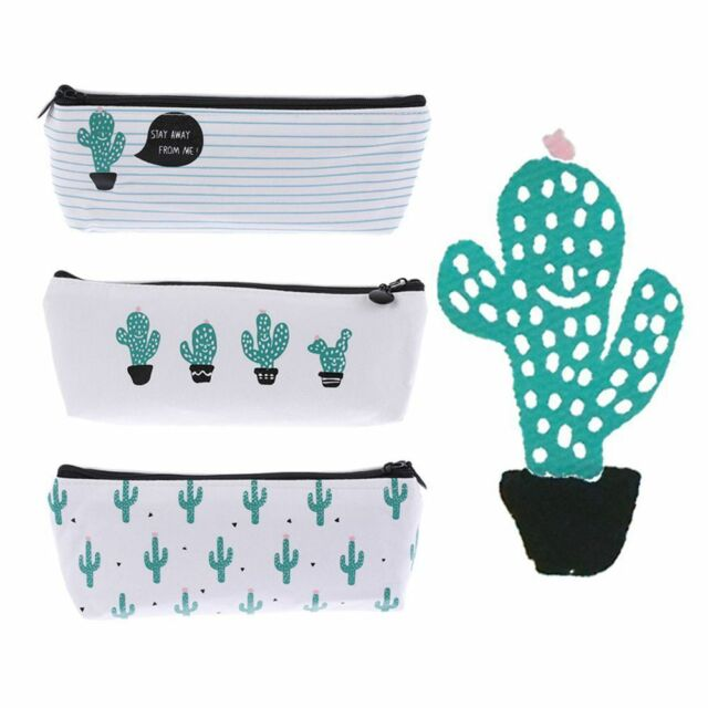 Cute School Supply Stationery Pencil Case Cosmetic Bag Canvas Green Cactus Eager