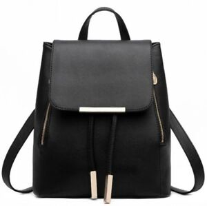 Leather-Korean-Fashion-Travel-School-Bag-Backpack-with-Phone-Pocket-Black