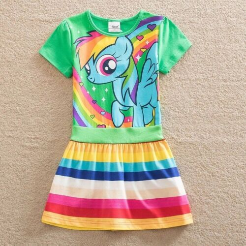Little Girls Rainbow Dash Dress 100/% Cotton Size 5T