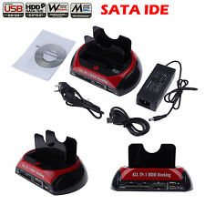 "Double Dock 2.5"" 3.5"" SATA IDE HDD Disque Dur USB ESATA Card Reader SD XD CF MS"