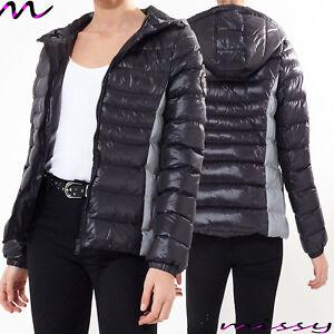 Details zu Neu Damen Gesteppt Winter Puffer mit Kapuze Reflektierend Jacke Parka Größe 8 16