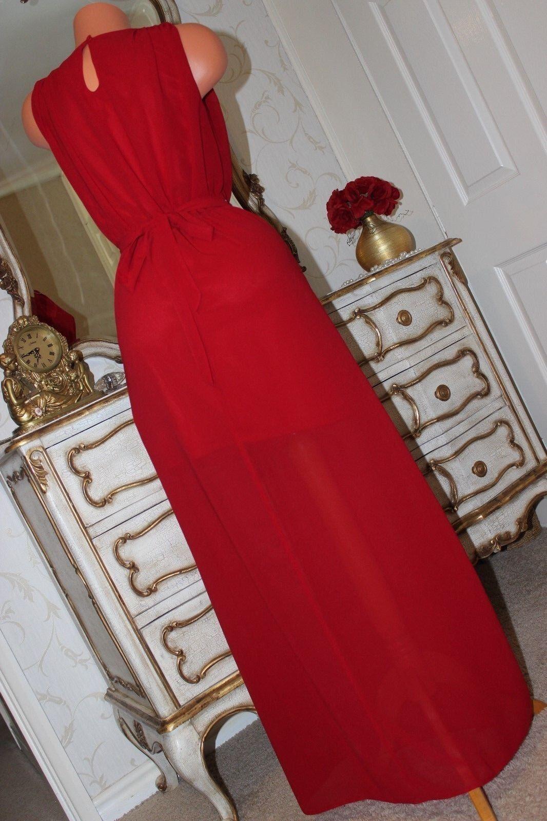 (R1) DIAMOND by JULIEN MACDONALD Red Red Red Semi Sheer Full Length Side Slit Dress Sz 8 6961c7