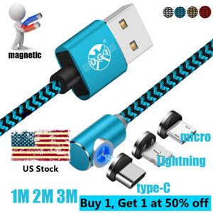 Us 1 2 3m Strong Magnetic Micro Usb C 360 176 Amp L Shape Led