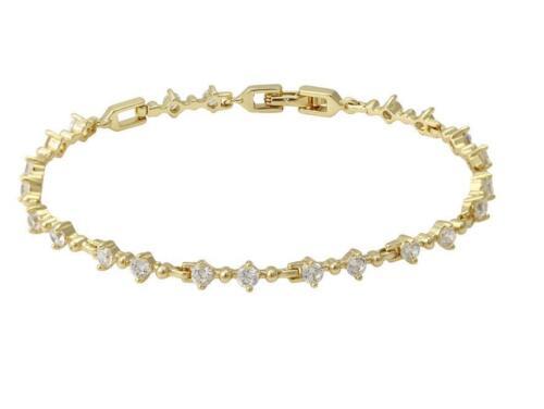 9ct 9K Gold Filled Ladies 4mm Crystal Bracelet Birthday Party Xmas Gift b436