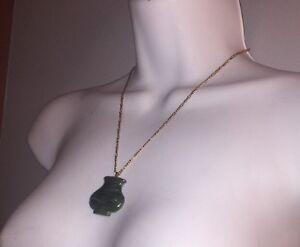 #214 antique JADEITE Pendant set w/14k gold Bright Translucent Green 53.60 tcw