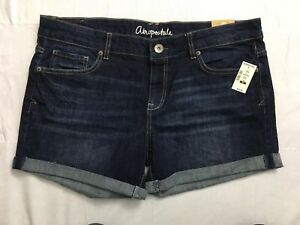 Aeropostale-Boyfriend-Shorts-Size-12-Rolled-Stretch-Distressed-Blue-Denim-NWT