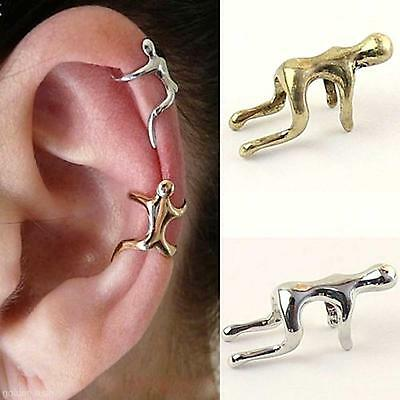 2X Unisex Retro Climbing Man Shape Alloy Silver / Bronze Cartilage Clip Ear Cuff