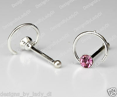 Tiny Silver Spiral With Pink Gem One (1) Nose Stud Ring Sterling Body Jewelry