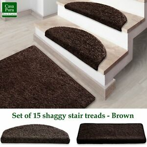 Image Is Loading Shaggy Stair Treads Brown Stair Mats Non Slip