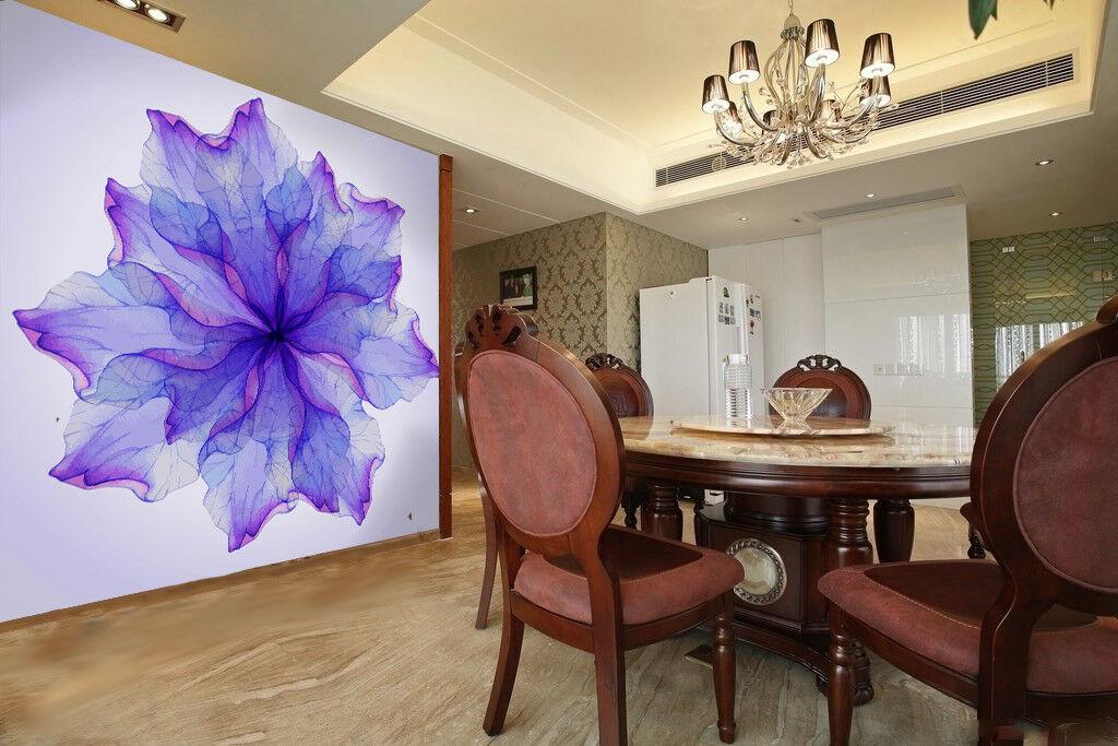 3D Blaue Lila Blüten 894 Wandbild Fototapete Bild Tapete Familie Kinder DE Lemon