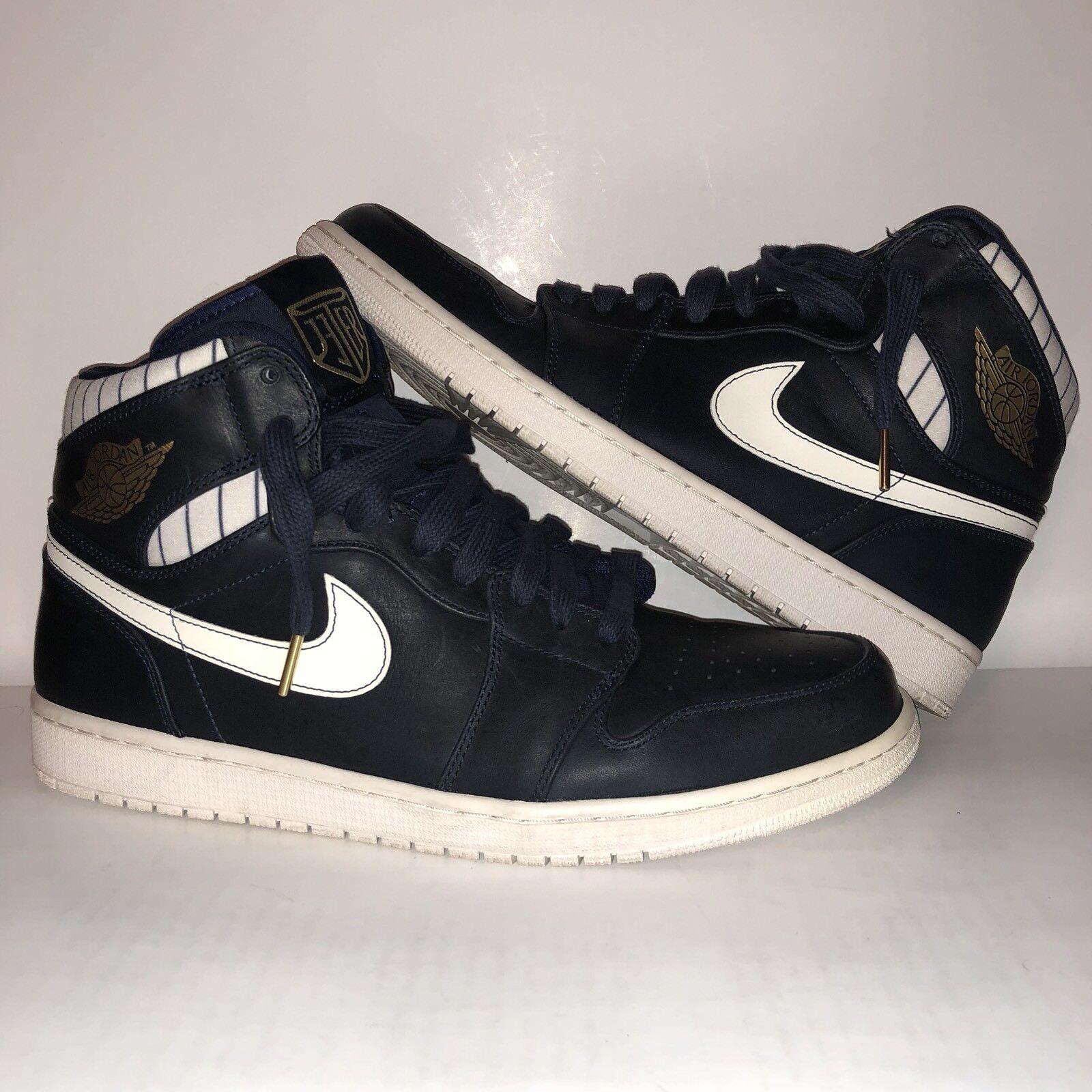 Nike Air Jordan Retro 1 High Jeter Midnight Navy Metallic gold 715854-402 Sz 14