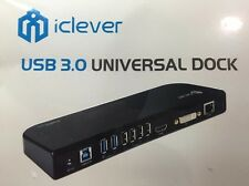 Sealed New  iClever USB 3.0 Universal Dock DVI/VGA/HDMI/AUDIO/Ethernet/Keyboard