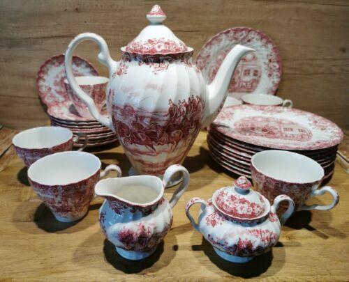 33-Teil edles Kaffeeservice Johnson Bros Old Britain Castles rot für 10 Personen