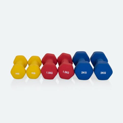 Gymnastikhanteln 6er SetNeopreneSet 2 2x1,0kg 2x1,5kg 2x2,0kg