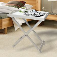FOLDING WOODEN PORTABLE BUTLER BREAKFAST DINNER SERVING TRAY SIDE TABLE - WHITE