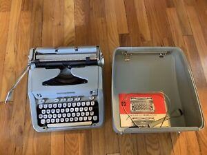 Hermes 3000 portable typewriter Bluish Color Works Switzerland With Case Extras