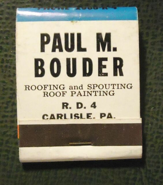 Matchbook Paul M Bouder Roofing Painting Carlisle Pa
