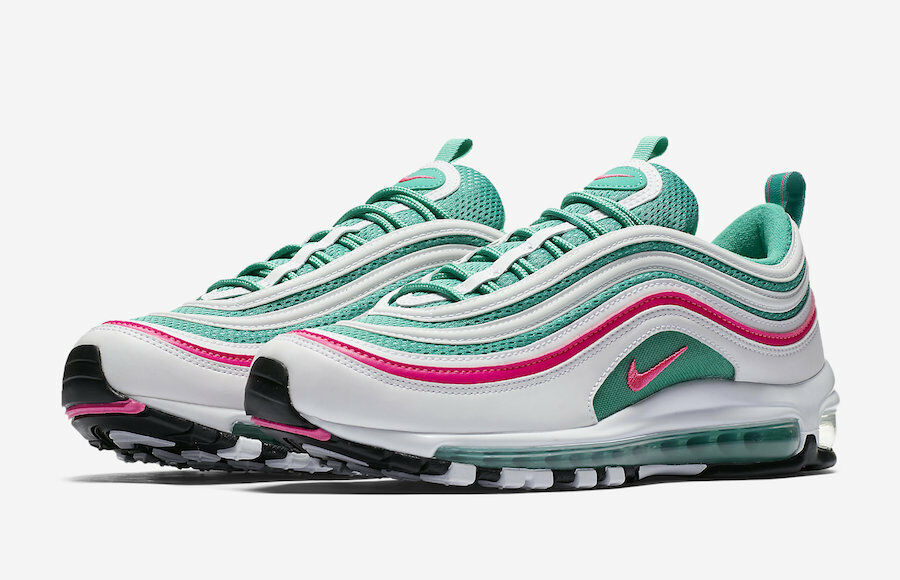 Nike MEN'S Air Max 97 White/Pink Black/Kinetic Green SOUTH BEACH SIZE 10.5 BRAND