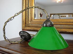 Deckenlampe-Jugendstil-Haengelampe-Messing-Antik-Pendelleuchte-Glas-Art-deco-Gruen