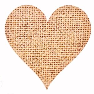 72 x Rustic Love Heart Stickers Labels, Hessian Burlap Blank Wedding Labels SH12