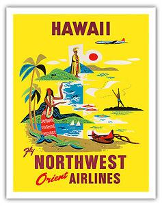 Northwest Orient Airlines HAWAII - 1960s Vintage Travel Poster Fine Art Print
